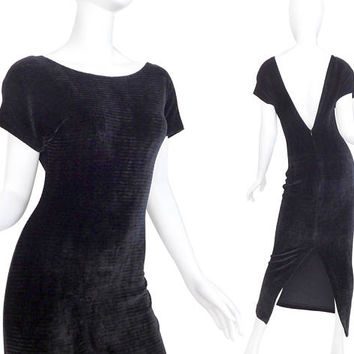 Sz S 90s Slinky Black Velvet Maxi Dress - Women's Vintage Plunging Low Back Sexy Bodycon Stretch Ribbed Velour Dress - Size 4 6 Small