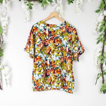 Vintage Colorful Boxy Floral Blouse
