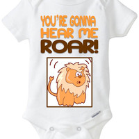 "Funny Baby Gift: Embellished Gerber Onesuit brand body suit - ""You're gonna hear me ROAR"" Lion / Katy Perry / Pop Music / Pop Culture"
