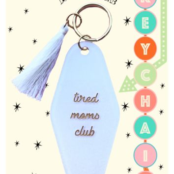 Tired Moms Club Keychain in White Glitter
