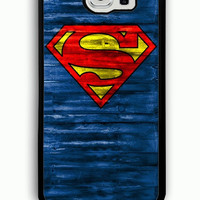 Samsung Galaxy S6 Case - Rubber (TPU) Cover with Superman Logo on Wood Rubber case Design