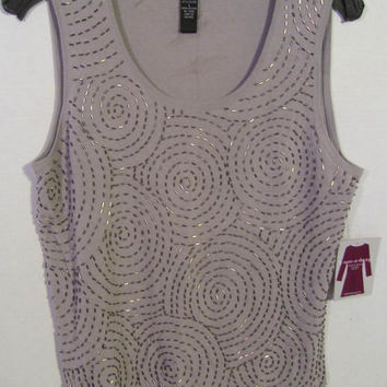 Evening Dressy Top Gray With All Over Silver Bugle Beaded Design Sleeveless Layering Blouse Size L/XL