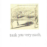 Tank You Very Much Aquarium Thank You Card | Vintage Fish Nerdy Pun Victorian Gothic