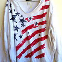 American Flag Knit Jumper Sweater Pull Over Vinatge Size Large