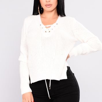 Luisa Lace Up Sweater - White