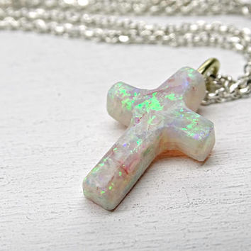 opal cross pendant, small opal pendant cross shape, Australian opal necklace, opal cross necklace, opal anniversary gift, christening gift