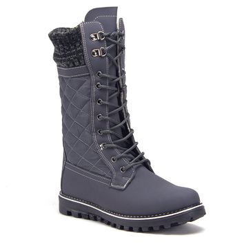 Women's Quilted Tall Mid-Calf Lace-Up Cold Weather Winter Boots