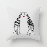 Giraffe Love Throw Pillow by Jacqueline Maldonado | Society6