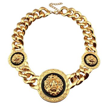 Gold Tone  Lion Head Chunky CCB Chain Statement Chokers Necklace