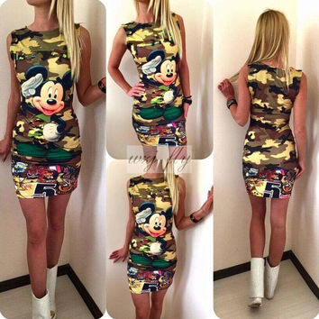 Summer Fashion Casual Print Slim Pencil Women Dress Half Sleeve Asymmetrical neck Dress Sheath Bodycon Dresses