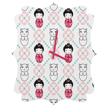 Marceline Smith Kokeshi Tiles Quatrefoil Clock