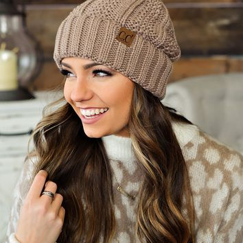 * Fur Lined C.C. Cable Knit Pom Beanie - Taupe