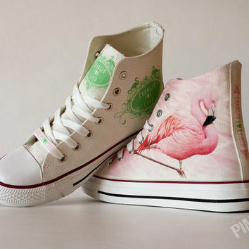 Flamingo custom shoes with your text (if you want to have any text on them)