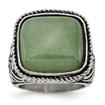 Men's Stainless Steel Antiqued/Polished Chalcedony Aventurine Ring