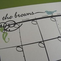 Whimsical Bird Personalized Dry Erase Calendar by fashionablylate