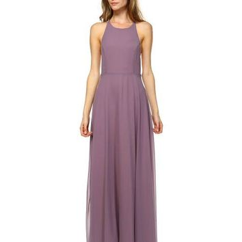 SOLID MAXI DRESS WITH BACK CAGE