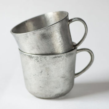 Cast iron mugs very rare Soviet time grey shiny cups set of 2 cups heavy home decor mid century
