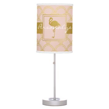 Flamingo Pink and Faux Gold Retro Pattern Modern Desk Lamp