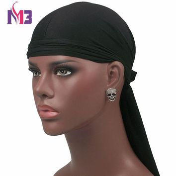 Fashion Unisex Beauty Town Hip-Hop Bandanna Cap Turban Hat Lacing Bandanas Wigs Spandex King's Durag Biker Headwear