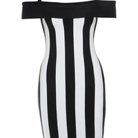Clothing : Bandage Dresses : 'Tiff' Black & White Striped Off Shoulder Bandage Dress