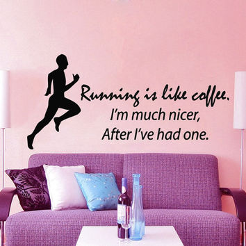 Fitness Wall Decal Quote Running Is Like Coffee Sport Stickers Boy Room Runner Vinyl Decals Bedroom Interior Design Living Room Decor KI74