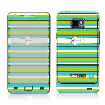 Galaxy Decal, Samsung Cover, Galaxy S2 i9100 Case Skin, PLUS Matching Wallpaper - Outfit No.3 - Trendy Turquoise Stripes Women Teen
