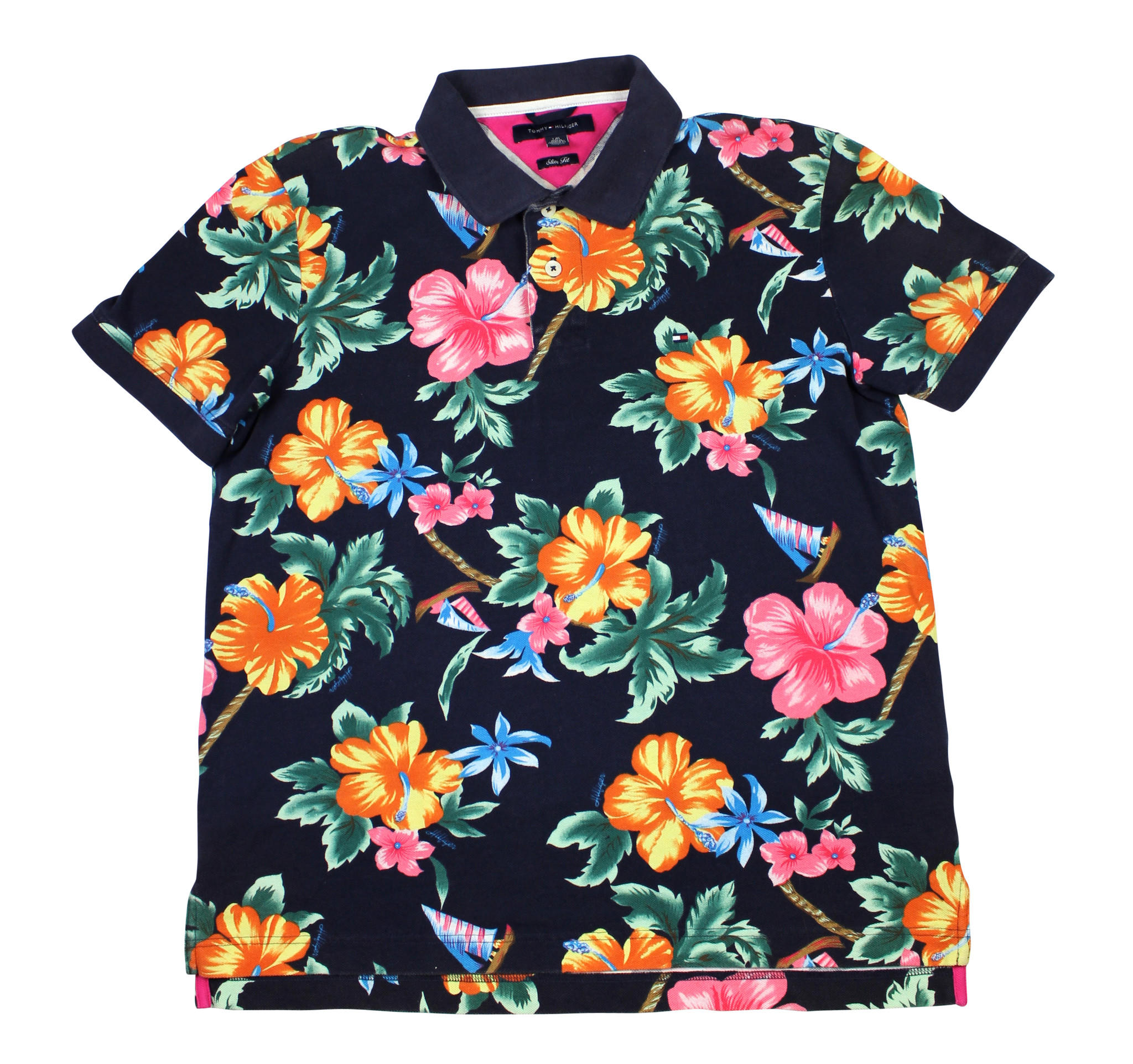 Tommy hilfiger floral print hawaiian polo from vintage for Mens slim hawaiian shirt