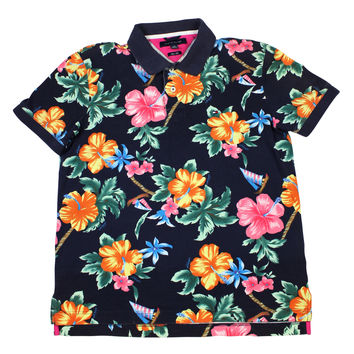 Tommy Hilfiger Floral Print Hawaiian Polo Shirt Mens Size Large (Slim Fit)