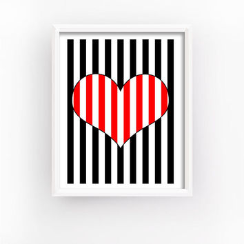Optical Art, Striped Hearts, Romantic Gift, Geometric Prints, Bedroom Wall Decor, Love Printable, Heart Print, Home Decor | MAGFEM ART #4