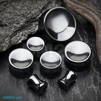 A Pair of Hematite Concave Stone Double Flared Plug