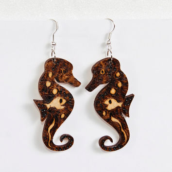 Wooden Sea Horse Earrings - Woodburning Jewelry - Ocean Jewelry