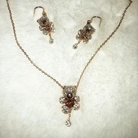 Teddy Bear Necklace and Earrings Set