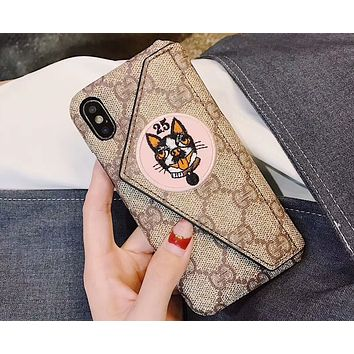 GUCCI 2018 men and women new embroidery dog year iPhone X phone case F-OF-SJK pink