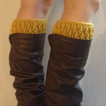 Boot socks, crochet boot cuffs, faux leg warmers, yellow boot cuffs, mustard