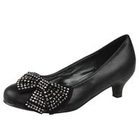 Kids Dress Shoes Embellished Side Bow Dress Pumps Black SZ