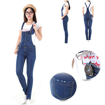 Mid Waist Denim Jeans Overalls Women with Pockets Plus Size Cowboy Female Bib Skinny Jeans Pants Women's Trousers Jean Femme