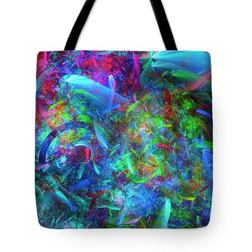 Colorful Fractal Chaos Pattern Tote Bag
