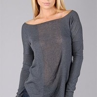 Raquel Allegra Basic Long Sleeve Tee Dark Grey