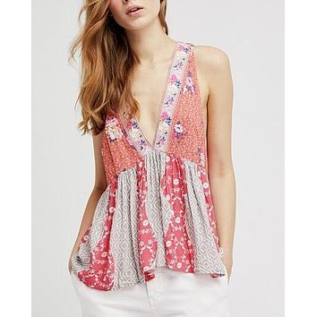 free people - dream darlin printed women tank top - orange