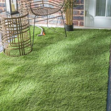 NuLOOM Artificial Grass Rug Green