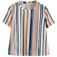 Multicolor Stripe Print Short Sleeve Top
