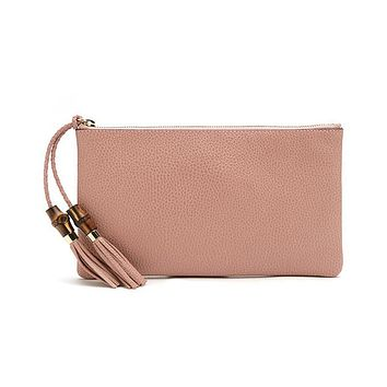 Gucci Women's Soft Pink Large Bamboo Clutch 449653