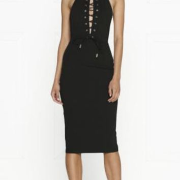 Major Scale Black Sleeveless High Neck Backless Halter Cut Out Lace Up Bodycon Midi Dress