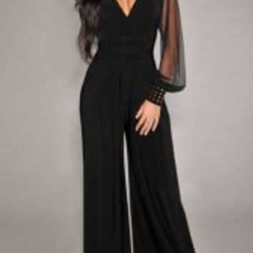 Black V-Neck Long Sleeve  Jumpsuit