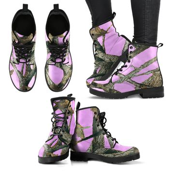 Women's Leather Boots Pink Camo