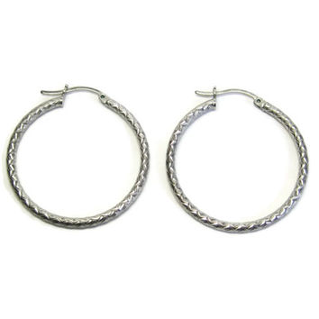 Vintage Sterling Diamond Cut 1 3/8 Inch Leverback Hoop Earrings
