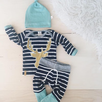 3pcs Baby Boy Deer Printed Set