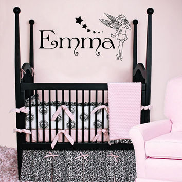 Personalized Name Decal Nursery Room Wall Decal Fairy Vinyl Sticker Wall Decor Home Interior Design Art Mural U-7