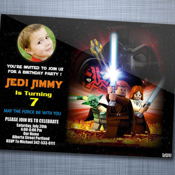 Star Wars Lego, Birthday Party, Invitation Card Design