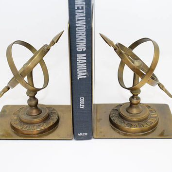 Vintage Brass Globe Arrow Armillary Sphere Sundial Bookends Set of 2